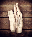 Used Ballet Shoes Hanging On W...