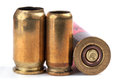 Used bullet casings on white with shadow Stock Photo