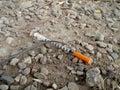 Used Drug Needle on the Ground Royalty Free Stock Photo