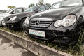 Used mercedes cars in a german dealership Stock Photography