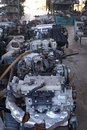 Used motors and spares in a junkyard Stock Photos