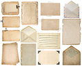 Used paper sheets. Old book pages, cardboards, music notes Royalty Free Stock Photo