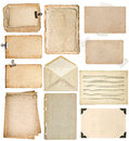 Used paper sheets. vintage book pages, cardboards, music notes, Royalty Free Stock Photo