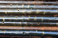 Used perforation guns for oil and gas exploration production Stock Image