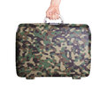 Used plastic suitcase with stains and scratches printed camouflage pattern Royalty Free Stock Photos