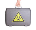Used plastic suitcase with stains and scratches printed sign danger biohazard Royalty Free Stock Image