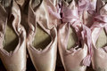 Used pointe shoes line of Royalty Free Stock Images