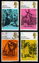 Used postage stamps printed britain showing scenes charles dickens books david copperfield pickwick papers oliver twist circa Stock Photos