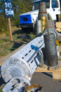 Used shells ammunition missiles on display in donbass makeyevka oct open air museum echo of war makeyevka october and fired by Royalty Free Stock Photography