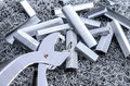 USED STAPLES WITH STAPLE NEEDLE AND STAPLE REMOVER Royalty Free Stock Photo