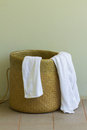 Used towels in the basket Stock Images