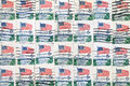 Used us postage stamps background of close up Stock Photos