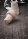 Used vintage wine corks close-up. Stock Photo