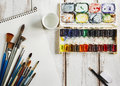 Used water color paint box watercolor paper and paint brush copy space Stock Photography