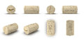 Used Wine Cork renders set from different angles on a white. 3D illustration Royalty Free Stock Photo