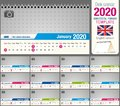 Useful desk triangle calendar 2020 template, with space to place a photo. Size: 22 cm x 12 cm. Format horizontal. English version