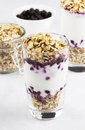 Useful dessert of granola yogurt and blueberry in glass on a wh white background Stock Photo