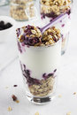 Useful dessert of granola yogurt and blueberry in glass on a wh white background Stock Photography