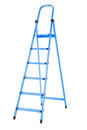 Useful, high and blue ledder, isolated on a white background. Renovation. A step ladder for repair.