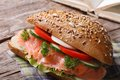 Useful snack sandwich with salmon and vegetables close up on an old table horizontal Stock Image