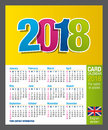 Useful Two-sided card calendar 2018 for wallet or pocket in full color. Size: 90mm x 55mm