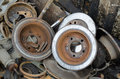 Useless old rusty brake discs worn out Stock Image