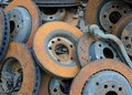 Useless old rusty brake discs worn out Royalty Free Stock Images