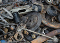 Useless rusty brake discs shock absorber and other parts worn out Stock Image