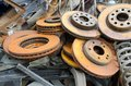Useless and rusty brake discs worn out Stock Photography