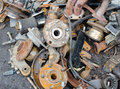 Useless worn out rusty brake discs and other parts Royalty Free Stock Images