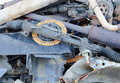 Useless worn out rusty clutch discs and other parts Stock Photos
