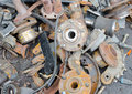 Useless worn out rusty parts brake discs and other Stock Image