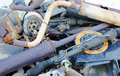 Useless worn out rusty parts brake discs shock absorber and other Royalty Free Stock Photography