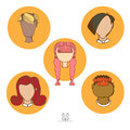 User avatar icons people s faces vector illustration set of men and women vintage image color drawing eps Stock Photos