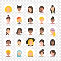 User avatar profile picture icon set in circle including female. People characters on transparent background.