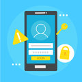 User based security banner. Phone with login box, key, lock