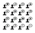 User communication, black icons set Royalty Free Stock Photography