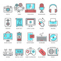 User generated content flat line icon set abstract vector of color icons for creative and culture modern style illustrations and Royalty Free Stock Photos