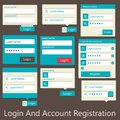 User interface login and account registration flat design vector illustration Royalty Free Stock Photo