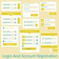User interface login and account registration flat design vector illustration Stock Image