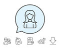 User line icon. Female Profile sign.
