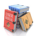 User manual books in the design of related information to give answers to questions Stock Photos