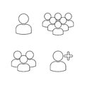 User Profile Group Outline Icons set Royalty Free Stock Photo