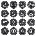 User retro labels set - businessman, customer service, staff avatars Royalty Free Stock Images