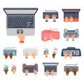 Users hands on keyboard and mouse of computer technology internet work typing tool vector illustration