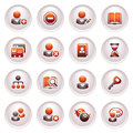 Users web icons. Black red series. Stock Photo