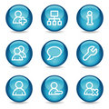 Users web icons, blue glossy sphere series Royalty Free Stock Photo