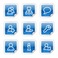 Users web icons, blue glossy sticker series Royalty Free Stock Images
