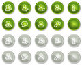 Users web icons, green and grey circle buttons Stock Photos