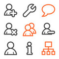 Users web icons, orange and gray contour series Royalty Free Stock Photos